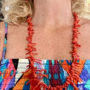 Authentic Red Coral Branch Necklace set